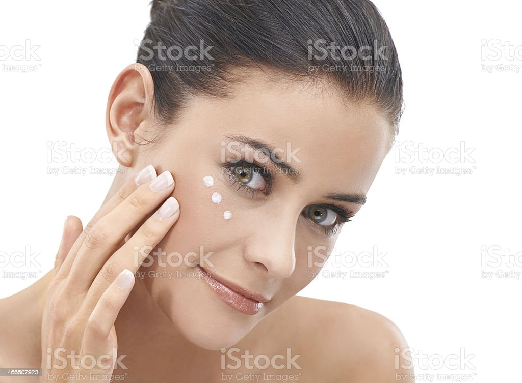 She keeps her skin looking young and smooth royalty-free stock photo