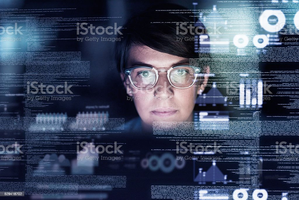 She knows code stock photo