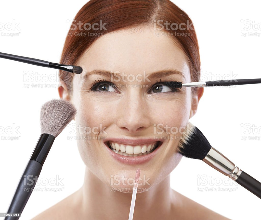 She knows her cosmetic brushes royalty-free stock photo