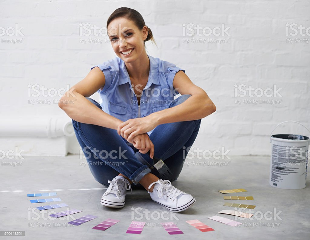 She knows your colour! stock photo