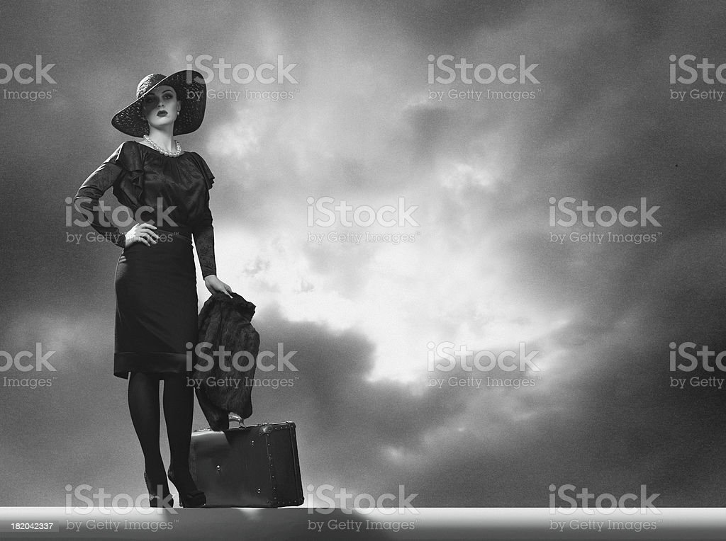 She leaves. stock photo