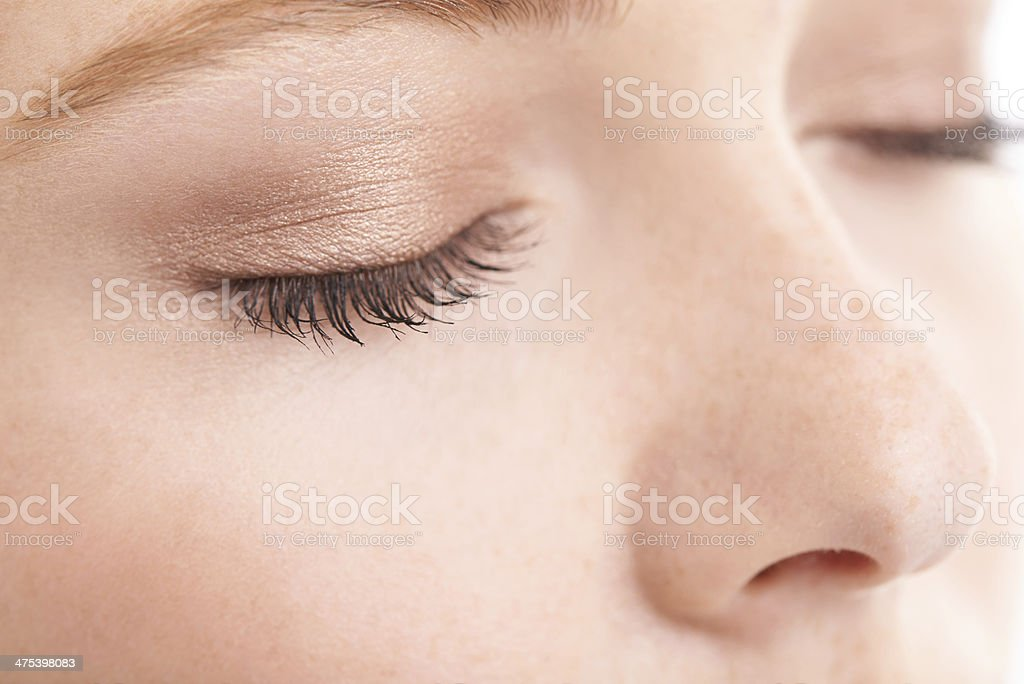 She likes to keep her make-up natural stock photo