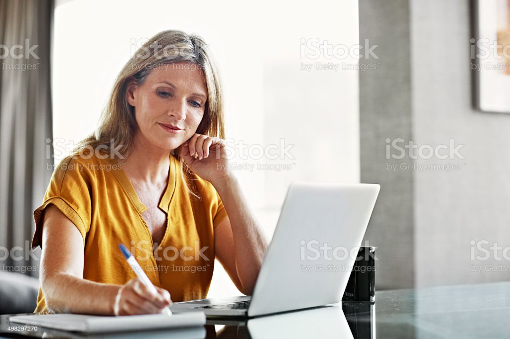 She likes to stay organzied stock photo
