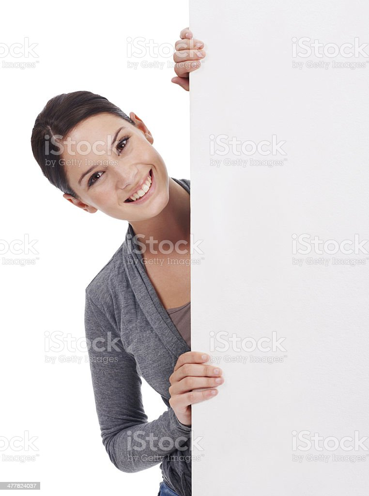 She likes what this says! stock photo