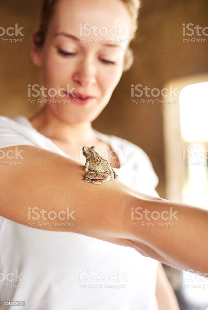 She loves all animals the same stock photo