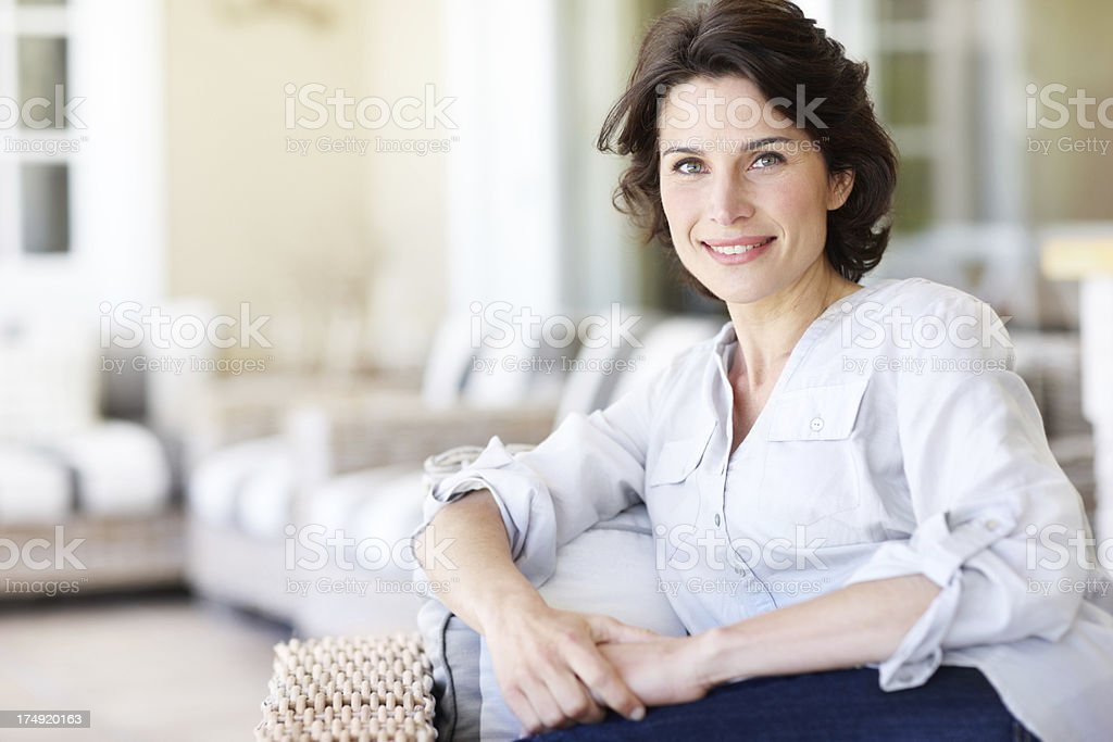 She loves her down time stock photo