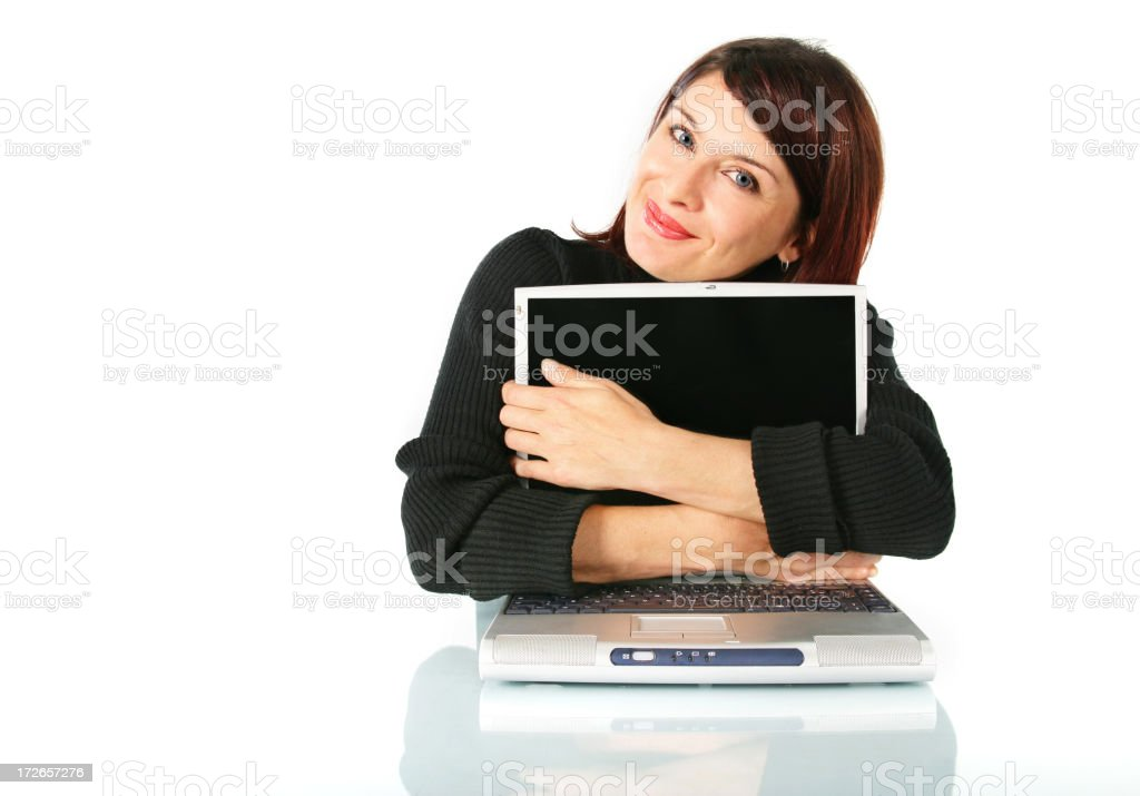 She loves her laptop royalty-free stock photo