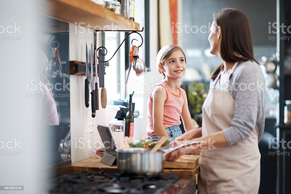 She loves her mother's cooking stock photo