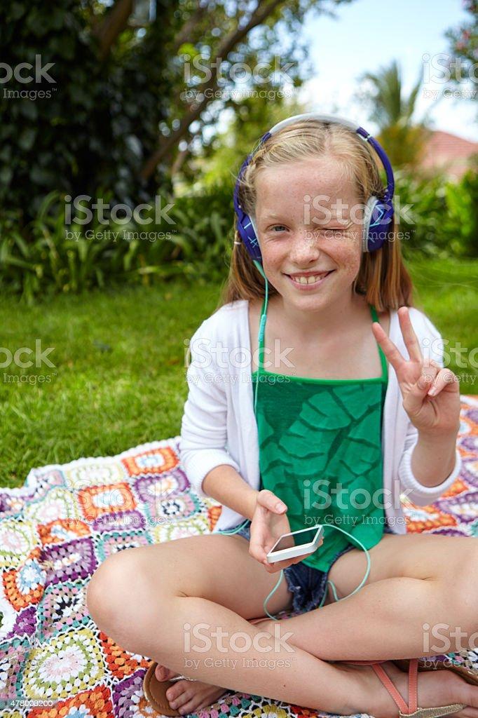 She loves her music stock photo