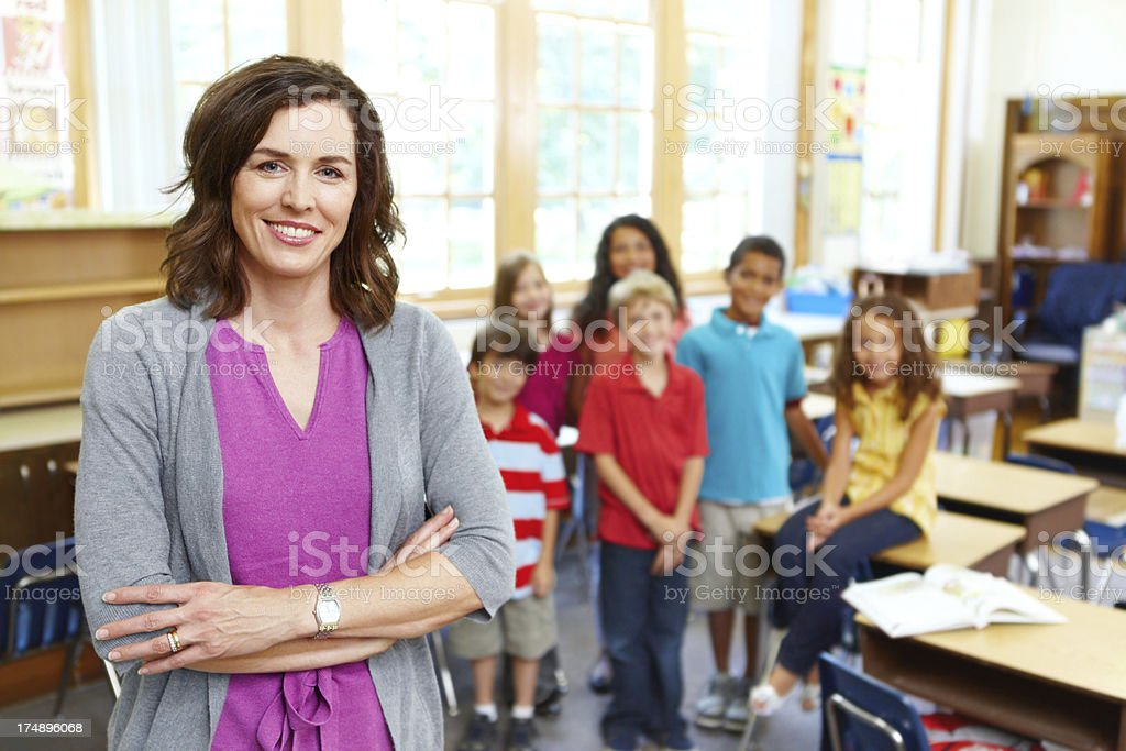 She loves her students! stock photo