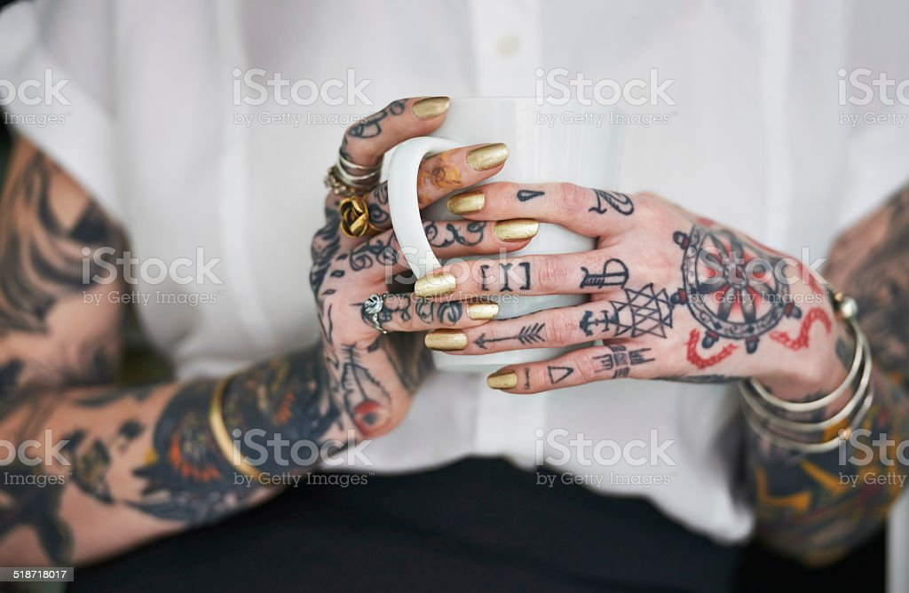 She loves her tattoos stock photo