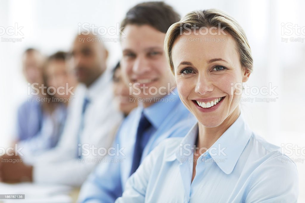She loves her team! royalty-free stock photo