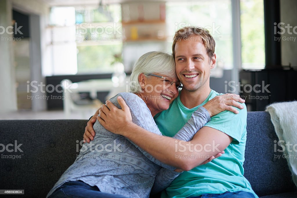 She loves his visits stock photo