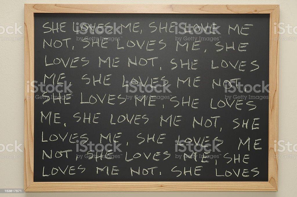 She Loves Me on a Chalkboard stock photo
