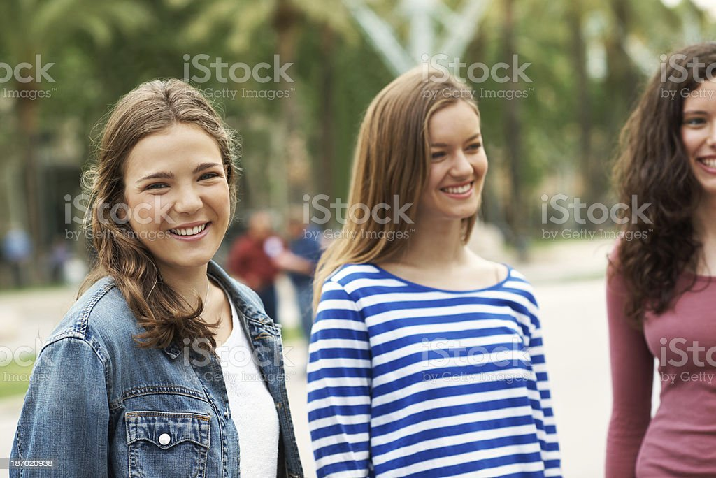 She loves spending time with her friends royalty-free stock photo