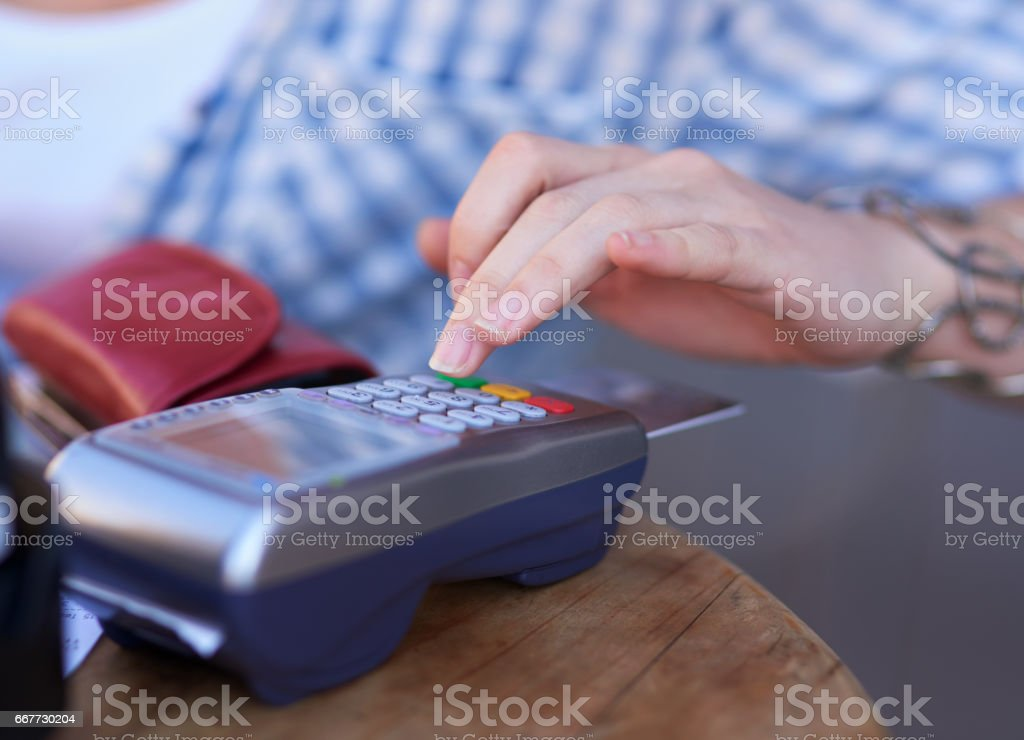 She loves the convenience of mobile payments stock photo