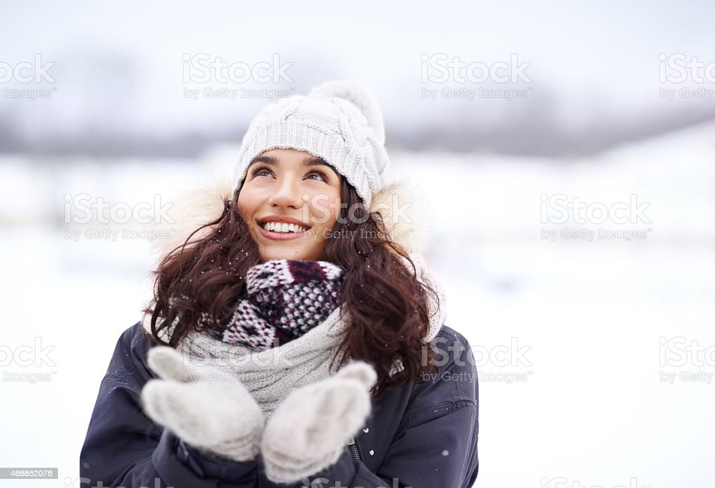 She loves the first snowfall stock photo