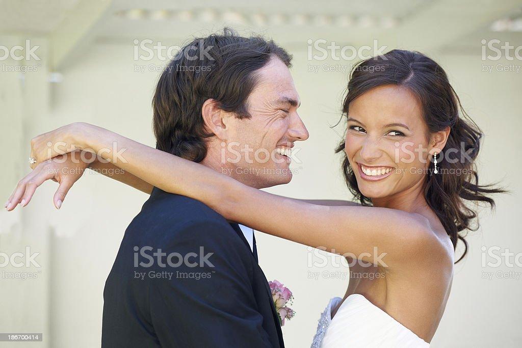 She makes him happy royalty-free stock photo