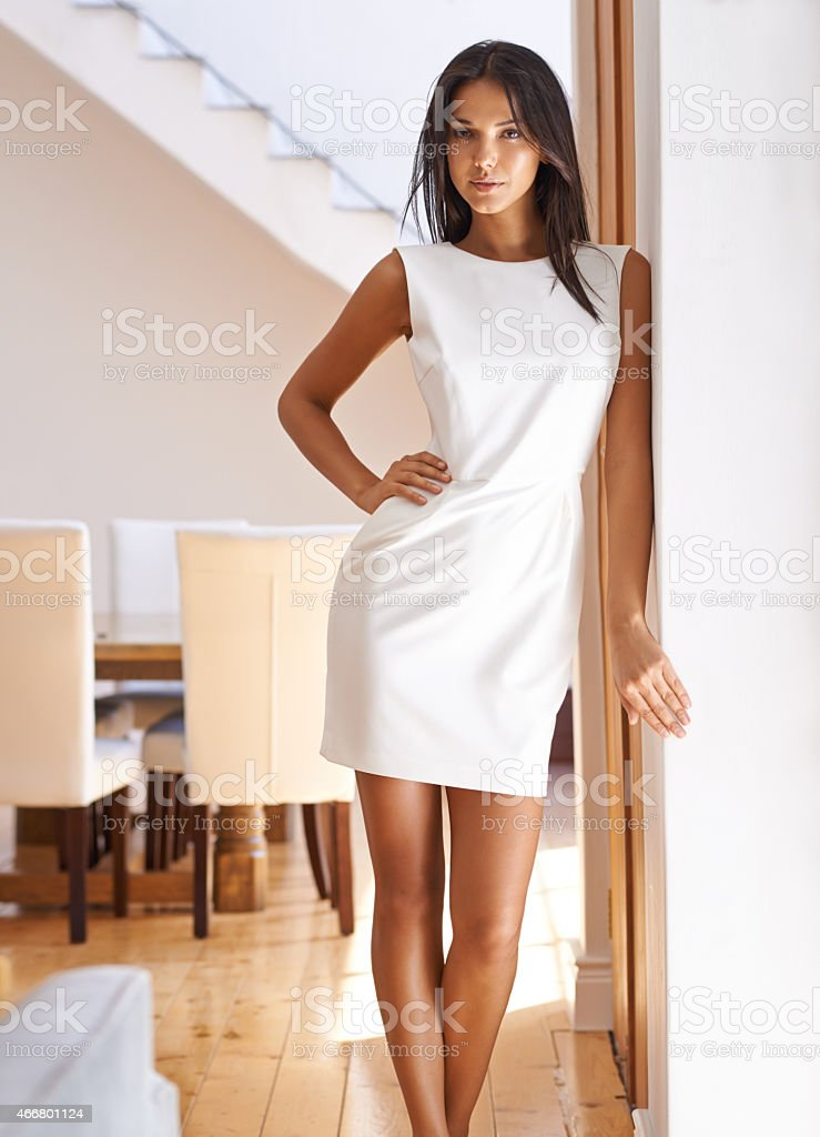She makes that dress look even better stock photo