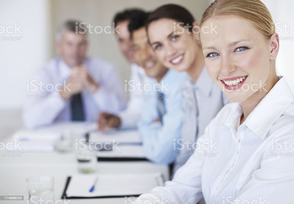 She motivates her team with hard work royalty-free stock photo