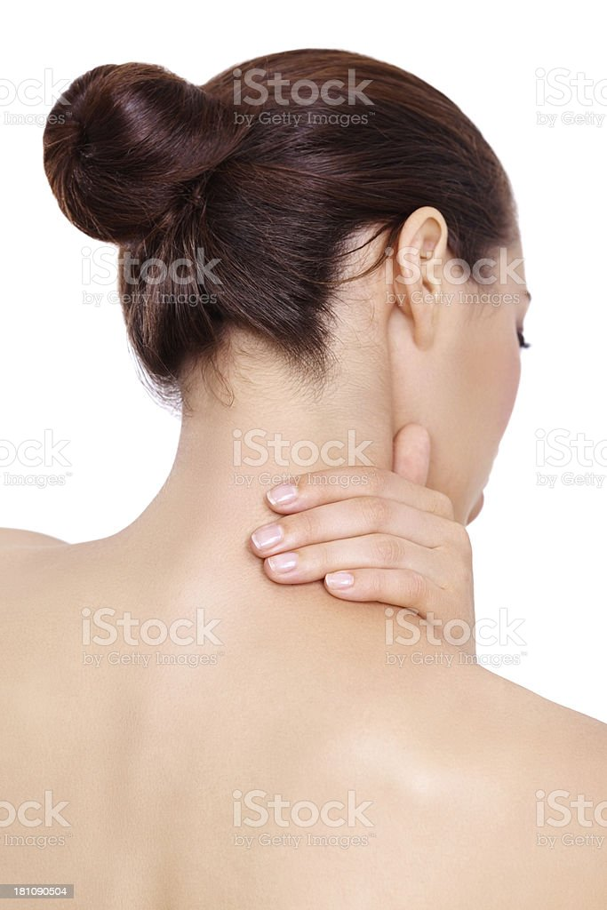 She needs something to alleviate the pain royalty-free stock photo