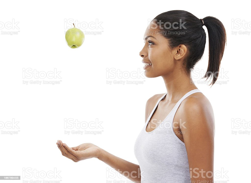 She needs this healthy snack after a workout royalty-free stock photo