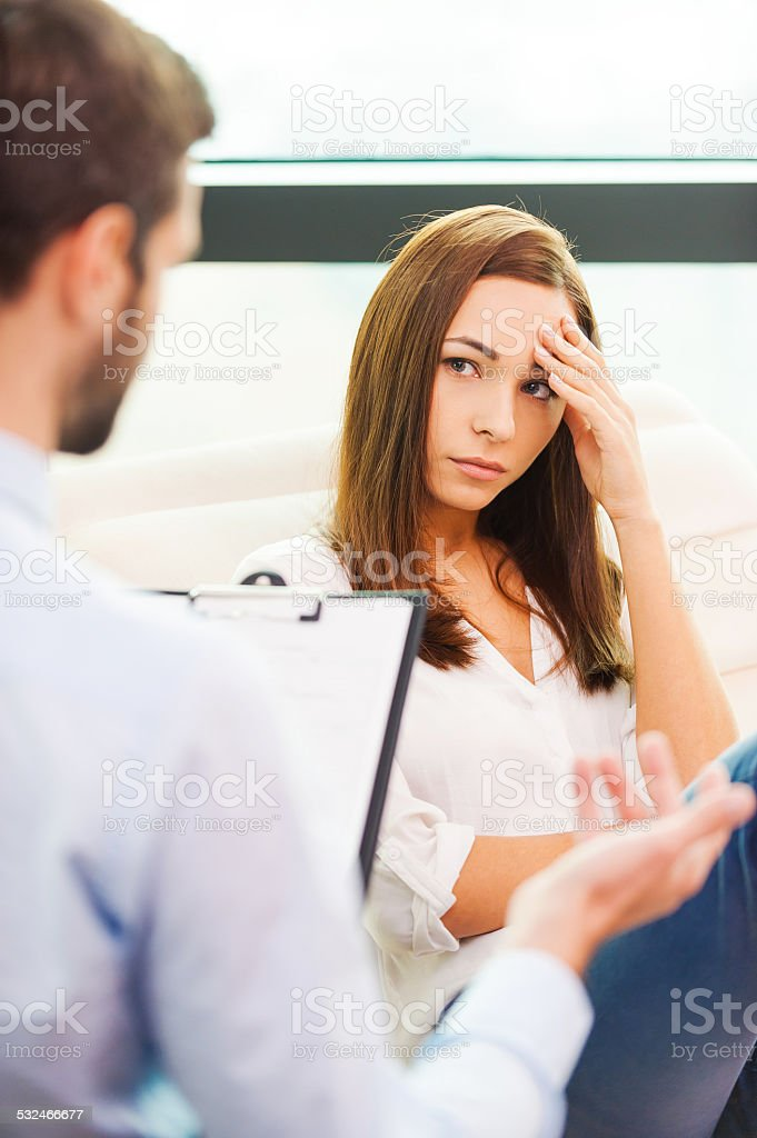 She needs to be consoled. stock photo