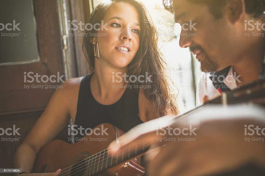She plays for him stock photo