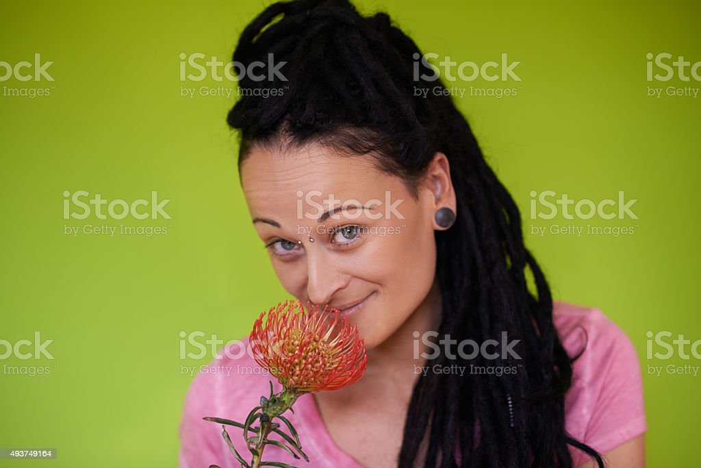 She respects all living things stock photo