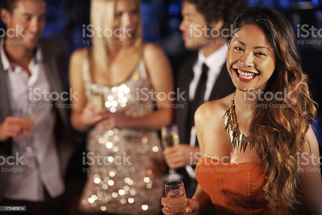 She revels in being social royalty-free stock photo