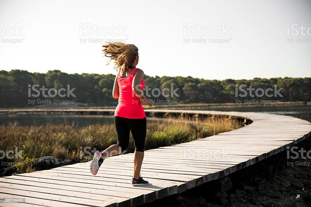 She runs every day stock photo