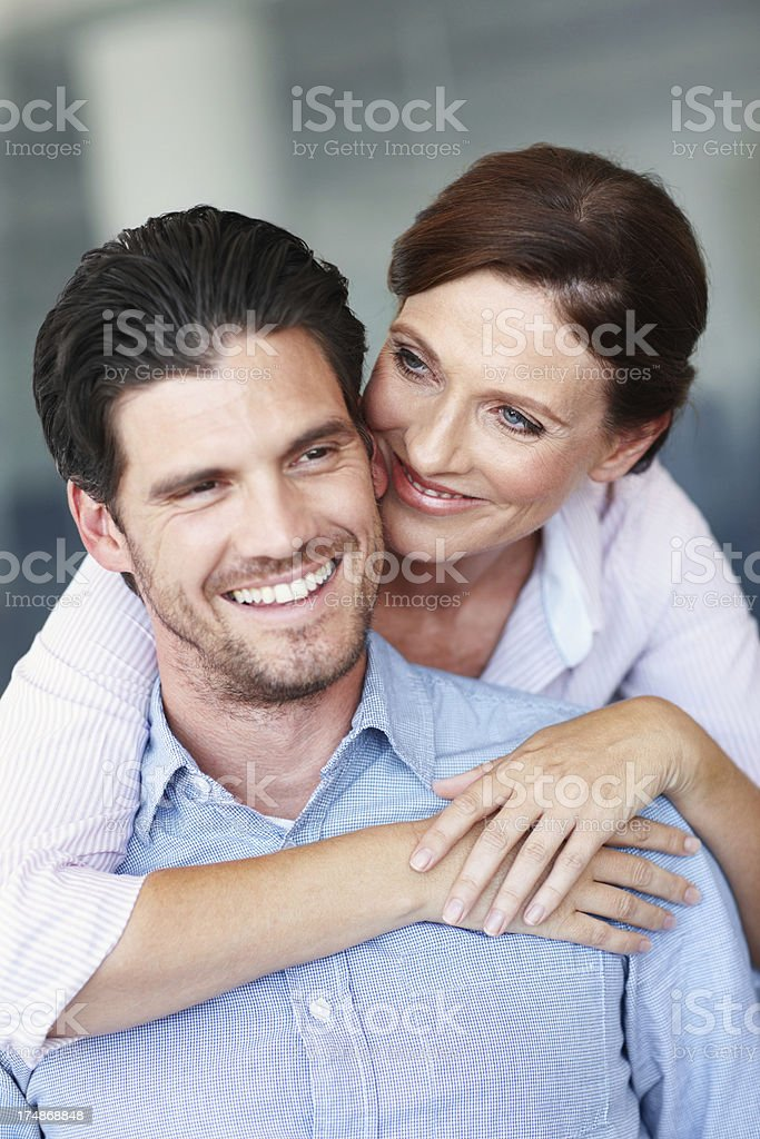 She shows her love for him royalty-free stock photo