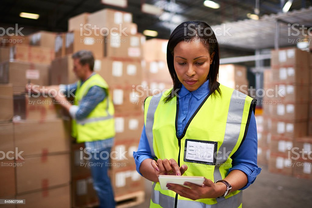 She specializes in logistics stock photo