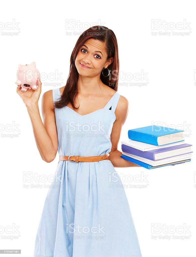 She spent her money on text books royalty-free stock photo