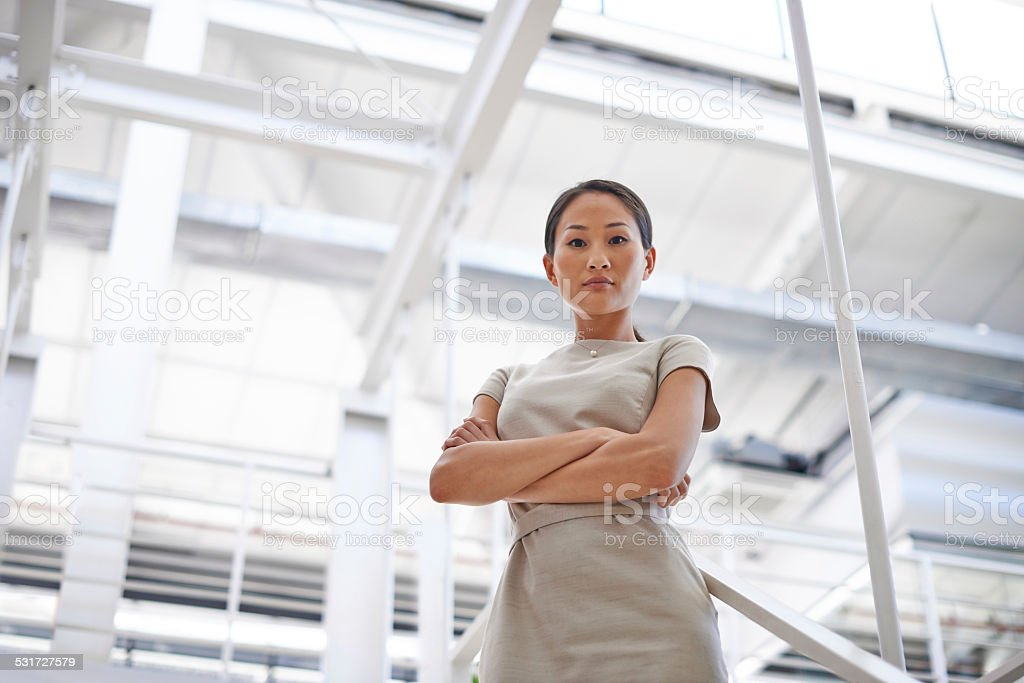 She takes her job seriously stock photo