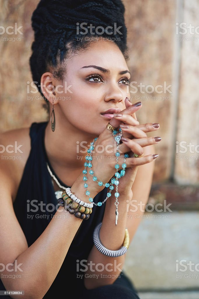 She understands the importance of prayer stock photo