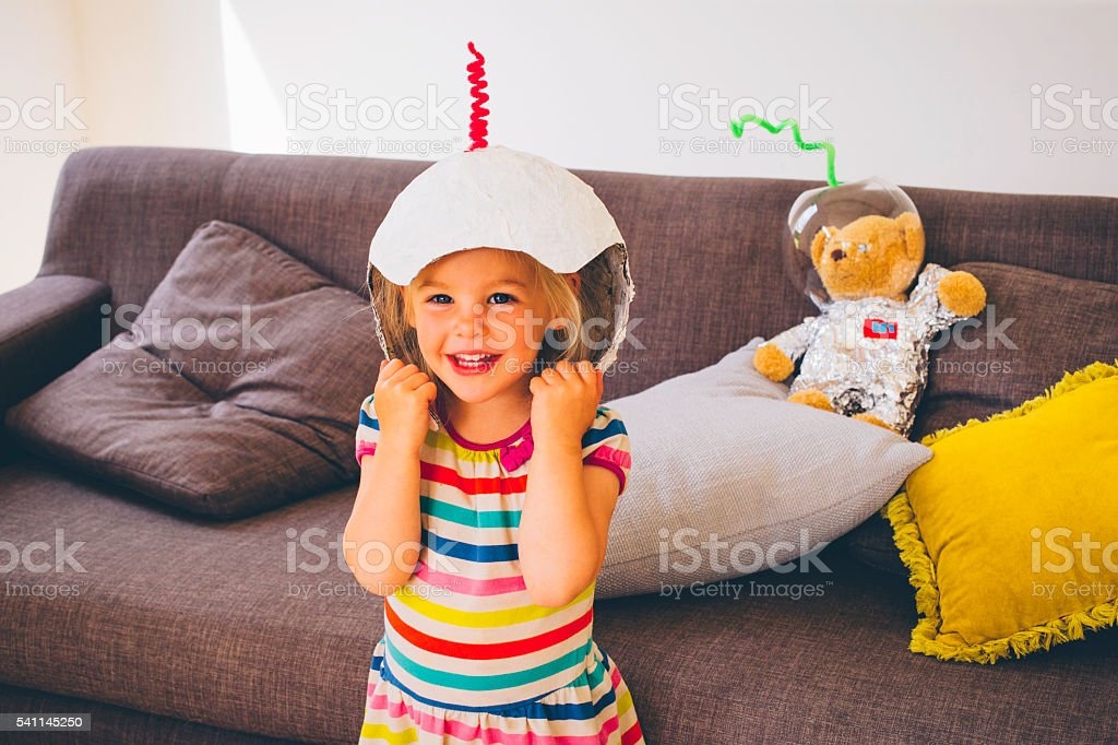 She want to be an astronaut when she grows up! stock photo