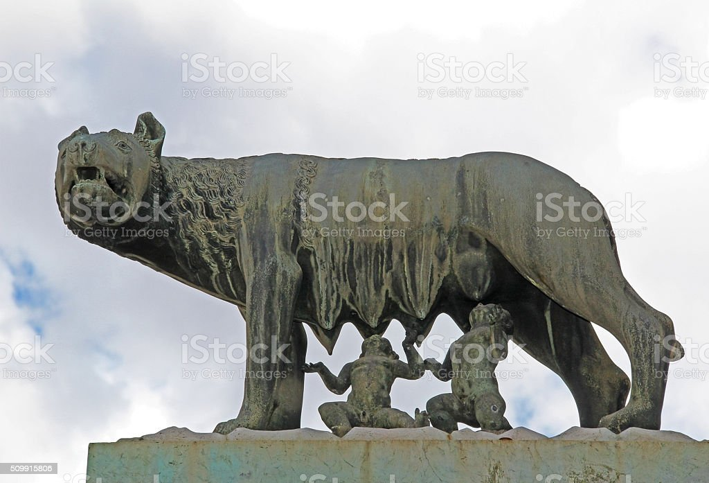 She wolf suckles Romulus and Remus. Rome, Italy. stock photo