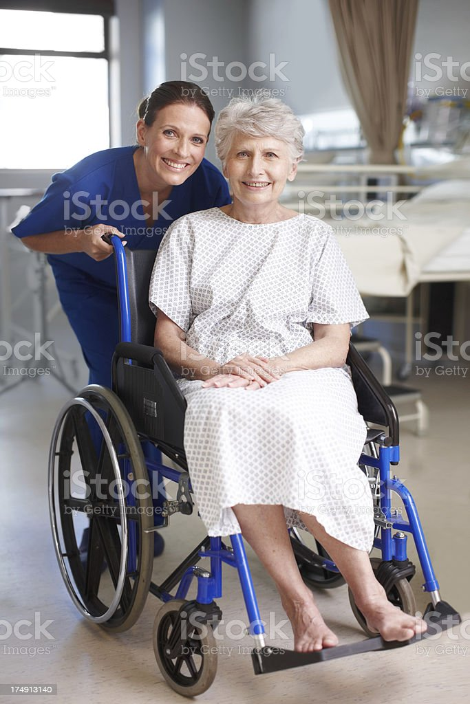 She won't be in the wheelchair for long royalty-free stock photo
