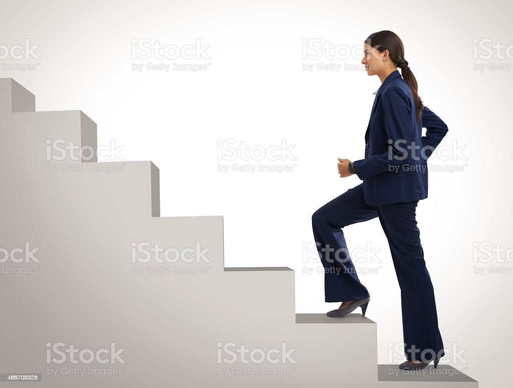 She won't stop still she gets to the top stock photo
