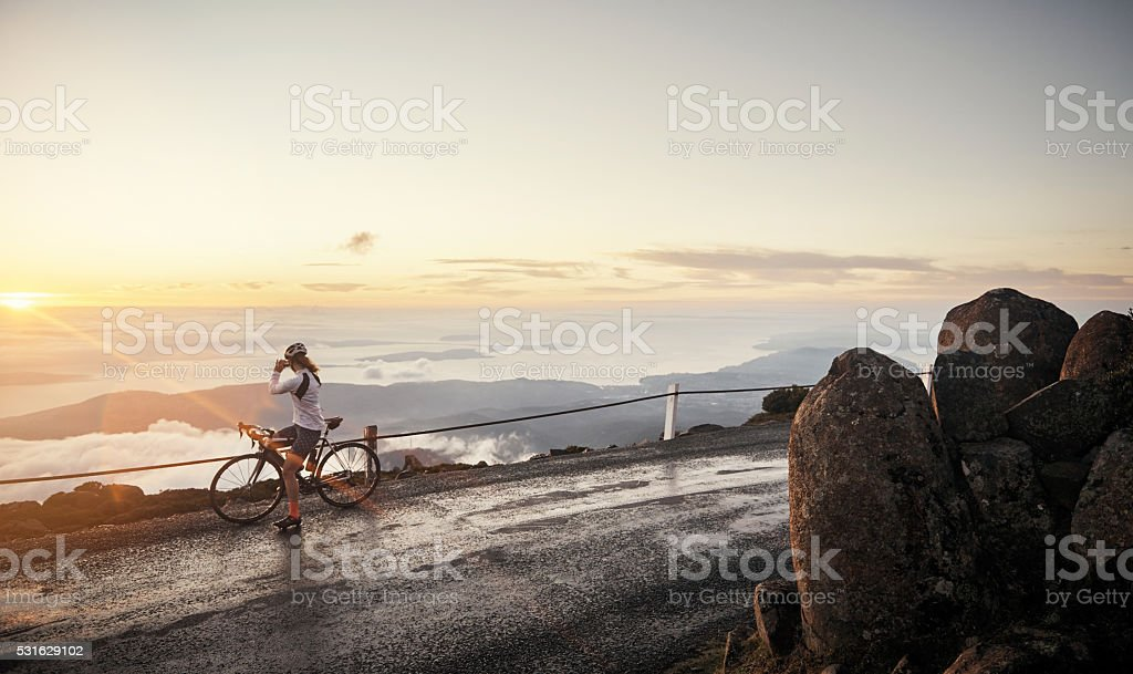 She worked hard to enjoy this view stock photo