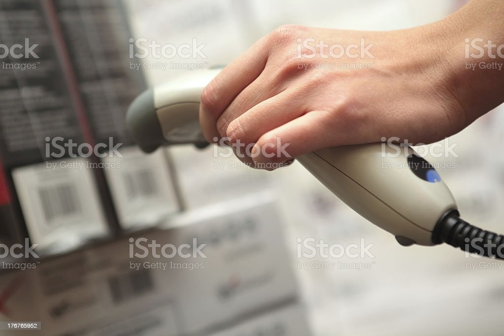 she works with barcode reader royalty-free stock photo