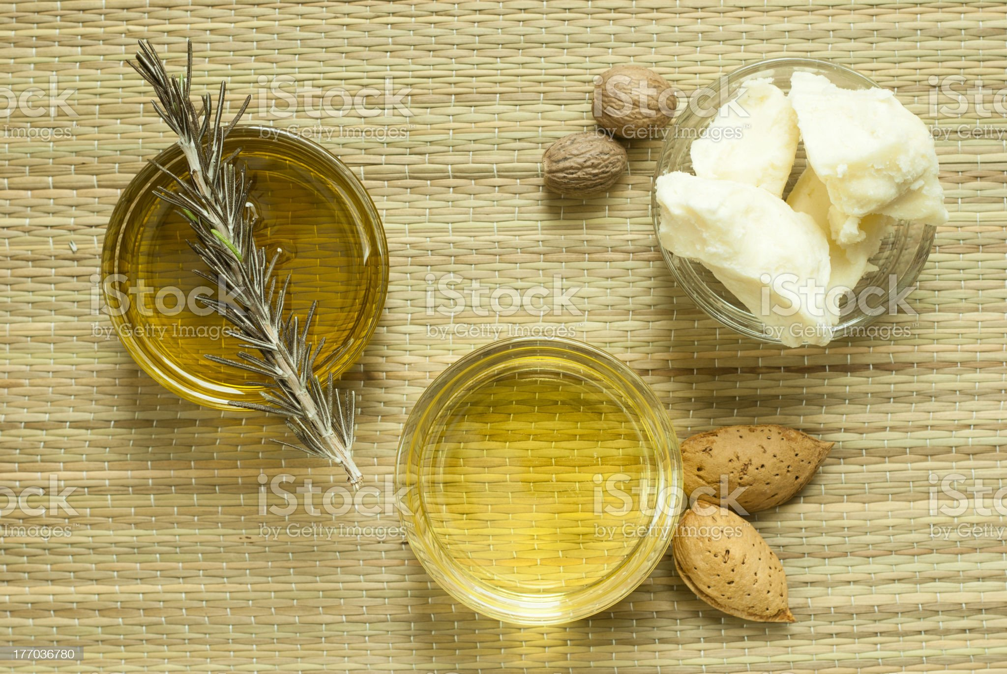 Shea butter and cosmetic oils royalty-free stock photo