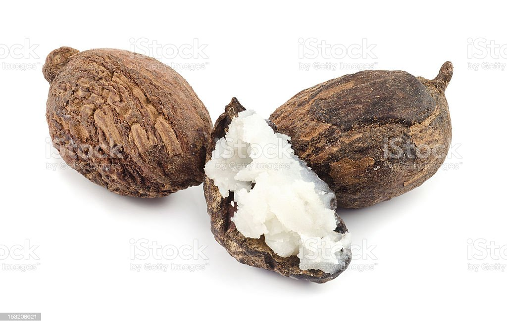Shea nuts and butter stock photo