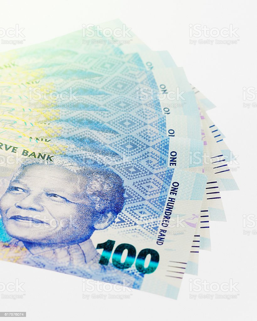 Sheaf of fanned-out South African One Hundred Rand banknotes stock photo