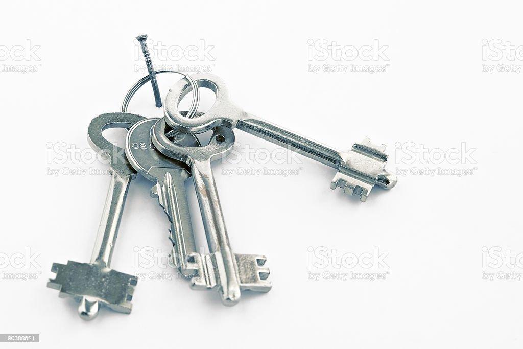 Sheaf of keys on a nail royalty-free stock photo