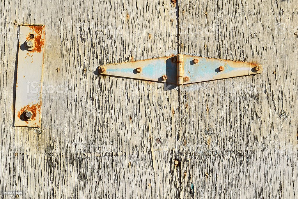 Shed Door Rusty Metal Hinge Beige Abstract Background Architecture stock photo