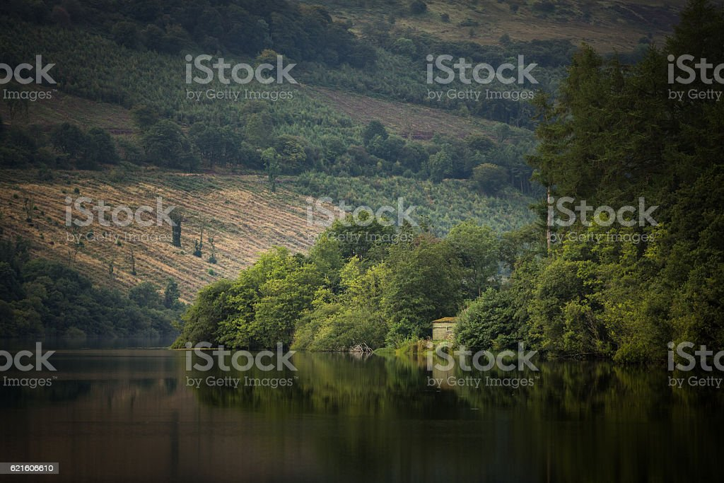 Shed on the bank of Talybont Reservoir Wales stock photo