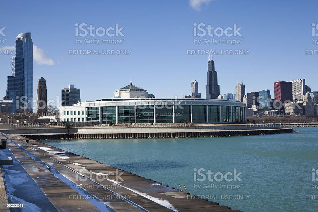 Shedd Aquarium and skyline of Chicago stock photo