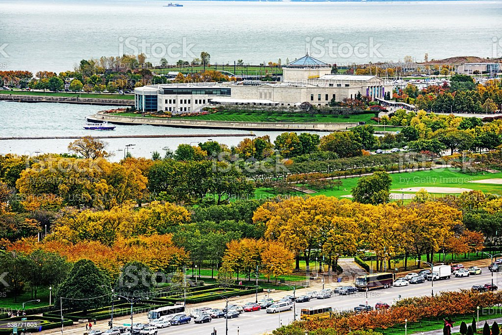Shedd Aquarium in Chicago on a wet autumn day stock photo